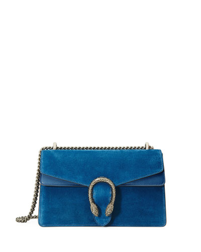 Dionysus Small Suede Shoulder Bag, Bright Blue