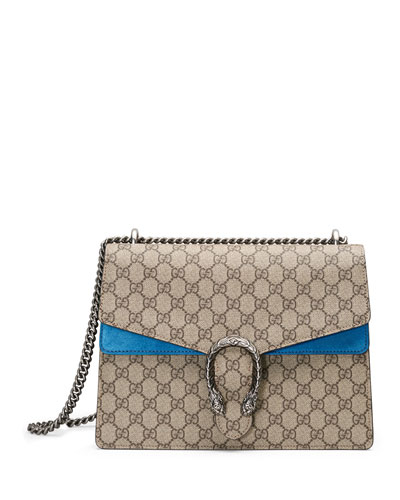 Dionysus GG Supreme Shoulder Bag, Beige/Bright Blue