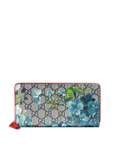 GG Blooms Zip-Around Wallet, Blue/Multi