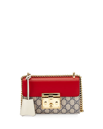 Padlock GG Supreme Small Shoulder Bag, Beige/Red