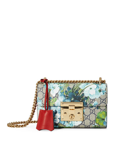 Padlock GG Blooms Shoulder Bag, Blue/Multi