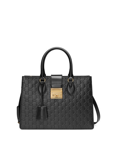 Padlock Small Guccissima Top-Handle Tote Bag, Black