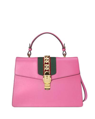 Sylvie Leather Top-Handle Satchel Bag, Bright Pink