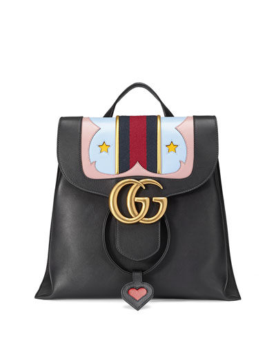 GG Marmont Leather Backpack, Black