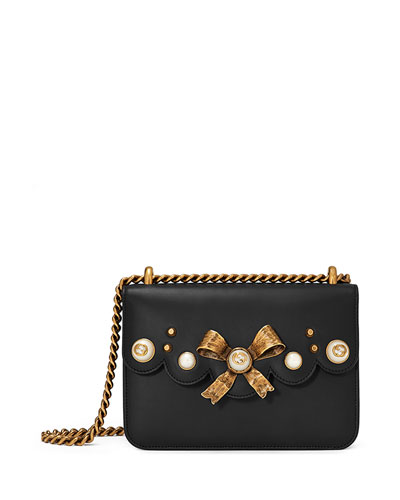 Peony Small Leather Chain Shoulder Bag, Black