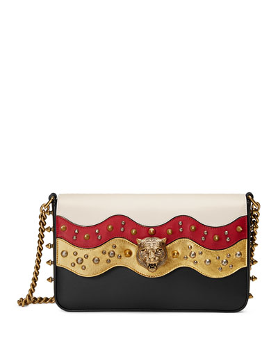 Studded Leather Chain Shoulder Bag, White/Black/Red