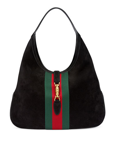 Jackie Soft Suede Hobo Bag, Black