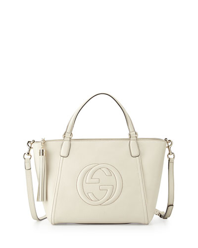 Soho Small Leather Top-Handle Bag, White