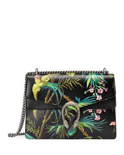 Dionysus Medium Tropical-Print Shoulder Bag, Black/Multi