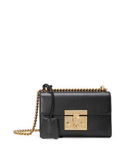 Padlock Small Leather Shoulder Bag, Black