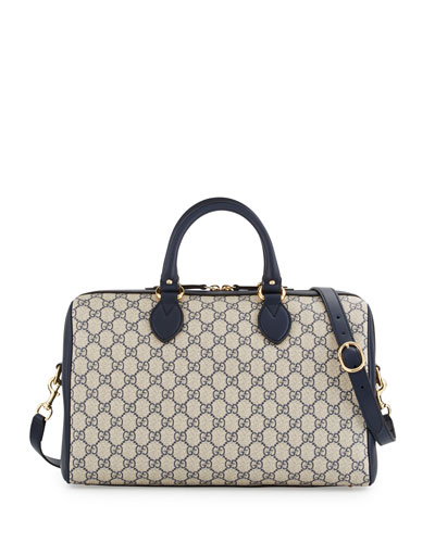 GG Supreme Top-Handle Large Boston Bag, Beige/Blue