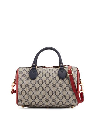 GG Supreme Top-Handle Small Boston Bag, Blue/Red/White