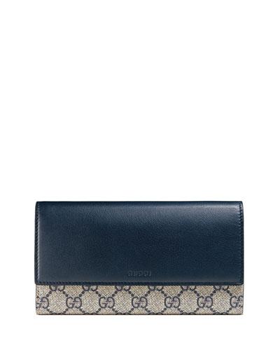 GG Supreme Continental Wallet, Blue/White