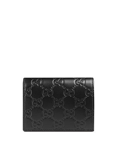 Guccissima Card Case, Black