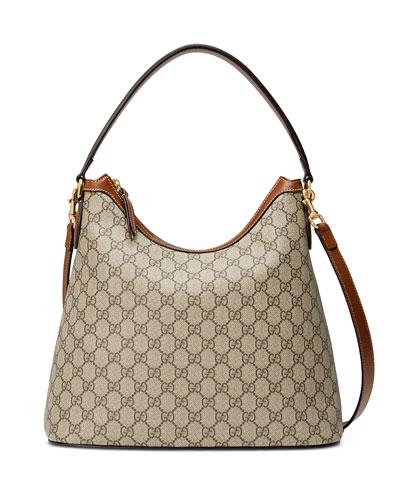 GG Supreme Medium Hobo Bag, Beige/Ebony/Cuir