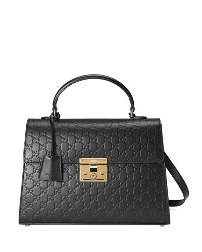 Padlock Medium Guccissima Top-Handle Satchel Bag, Black