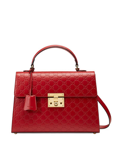 Padlock Medium Guccissima Top-Handle Satchel Bag, Red
