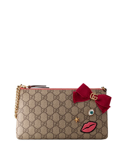 Embroidered-Face Chain Wrist Wallet, Multi/Rose