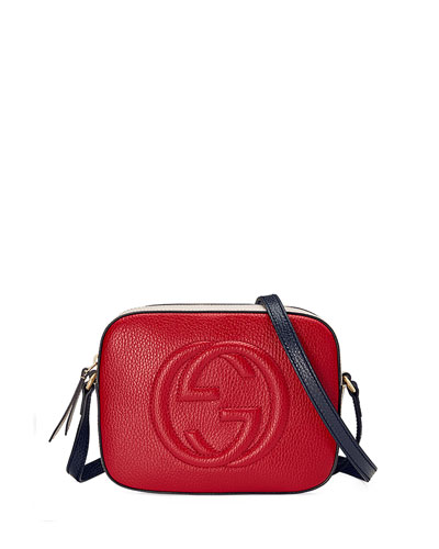 Soho Leather Shoulder Bag, Red/Blue/White