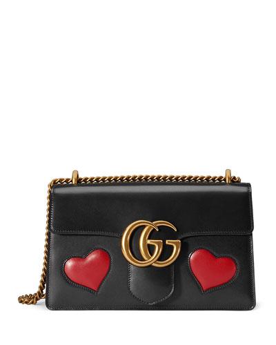 GG Marmont Medium Heart Shoulder Bag, Black/Multi