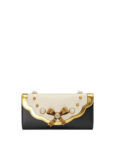 Peony Small Pearly Bow Clutch Bag, Black/White/Gold