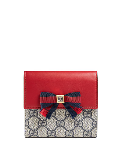 Grosgrain GG Supreme French Flap Wallet, Blue/Red