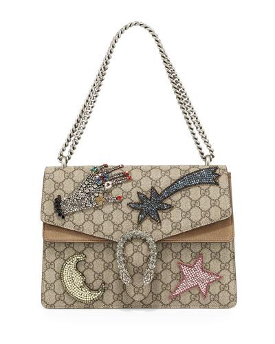 Dionysus Embroidered Shoulder Bag, Multi/Taupe
