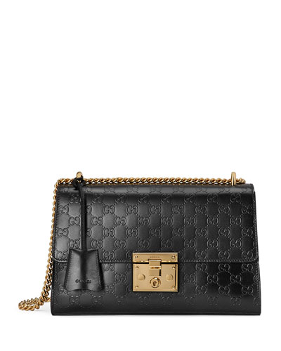 Padlock Medium Guccissima Shoulder Bag, Black