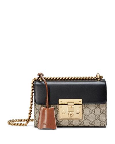 Padlock GG Supreme Shoulder Bag, Beige/Black/Cuir