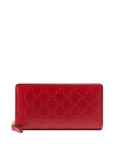 Gucci Signature Zip-Around Wallet, Red