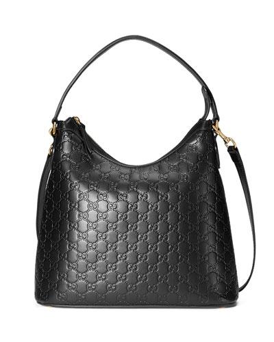 Guccissima Medium Hobo Bag, Black