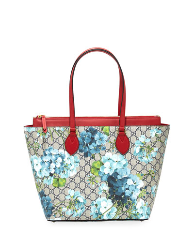 GG Blooms Medium Tote Bag, Blue/Multi