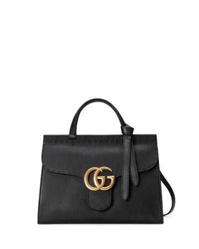 GG Marmont Small Top-Handle Satchel Bag, Black