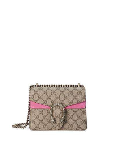 Dionysus GG Supreme Mini Shoulder Bag, Beige/Bright Pink