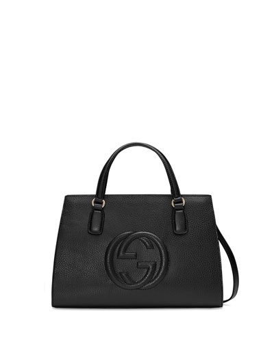 Soho Leather Top-Handle Satchel Bag, Black