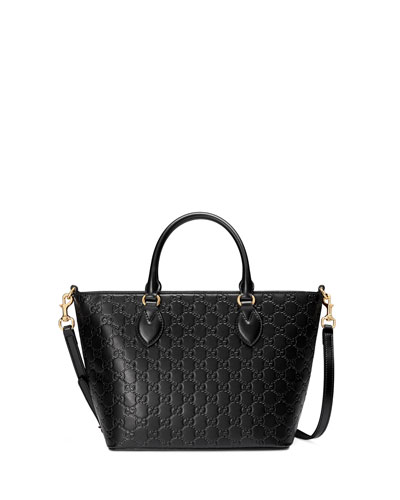 Guccissima Small Leather Tote Bag, Black