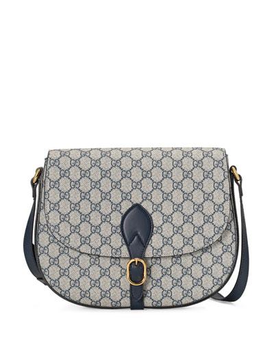 GG Supreme Medium Flap Saddle Bag, Beige/Blue