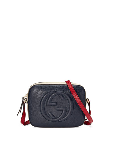 Soho Leather Shoulder Bag, Navy/White/Red