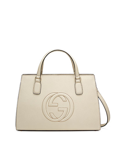 Soho Leather Top-Handle Satchel Bag, White