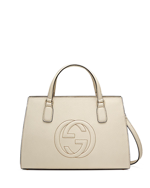 Soho Leather Top-Handle Satchel Bag, White