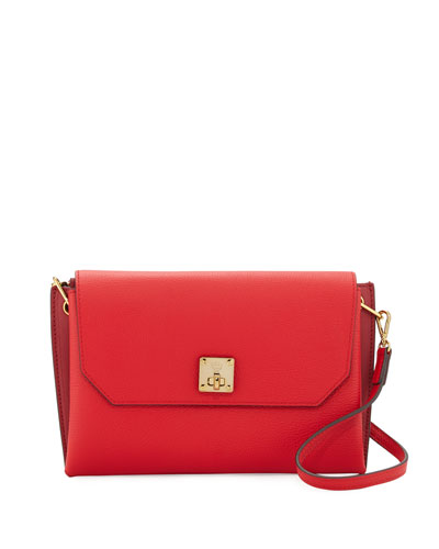 Milla Small Leather Clutch Bag, Ruby Red