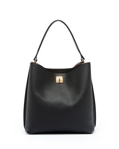 Milla Large Leather Hobo Bag, Black