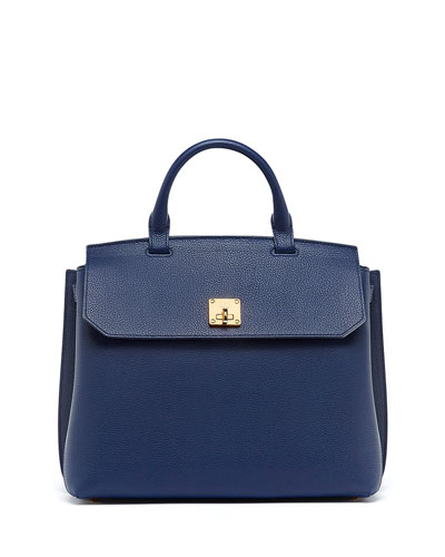 Milla Large Convertible Satchel, Navy Blue