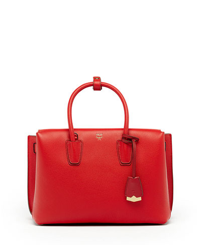 Milla Medium Leather Tote Bag, Ruby Red