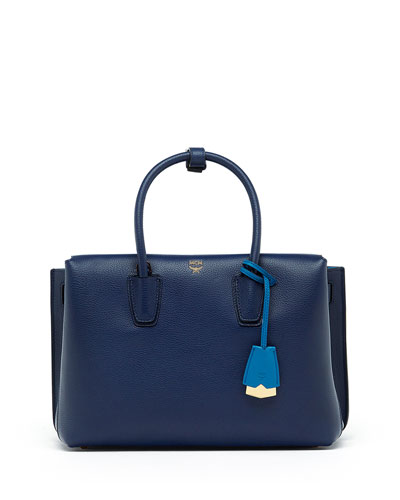 Milla Medium Leather Tote Bag, Navy Blue