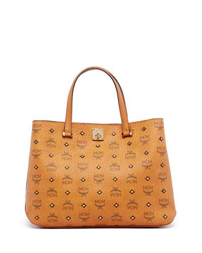 Gold Visetos Medium Tote Bag, Cognac