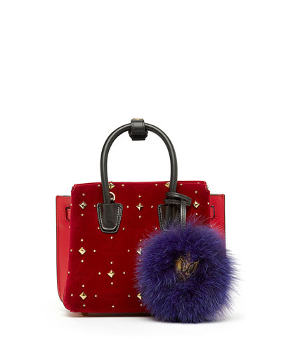 Milla Mini Studded Tote Bag, Ruby Red