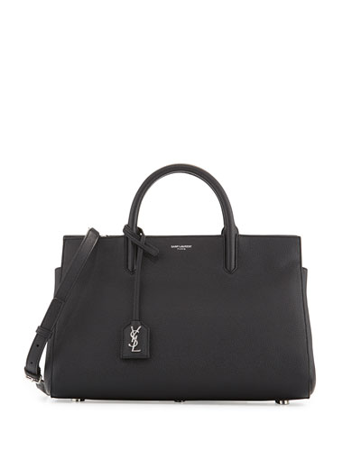 Rive Gauche Small Grain Leather Satchel Bag, Black