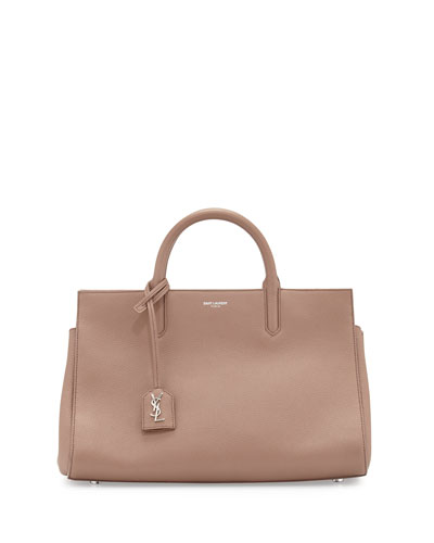 Rive Gauche Small Grain Leather Satchel Bag, Blush