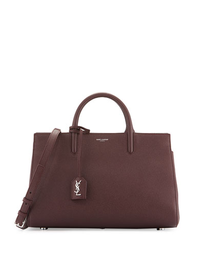 Rive Gauche Small Grain Leather Satchel Bag, Bordeaux